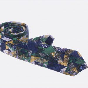 Desenli Mavi Yeşil Kravat
