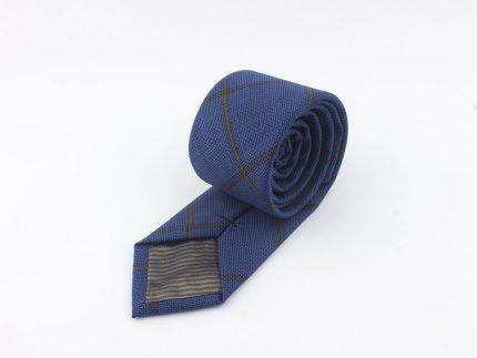 Mavi Kahve Ekoseli Yün kravat