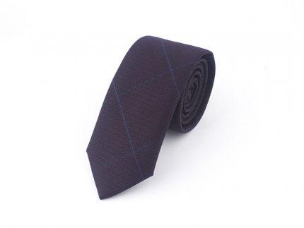 Mavi Çizgili Bordo Kravat
