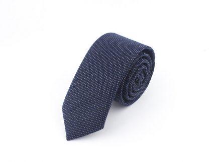 Noktalı Beyaz Lacivert Kravat