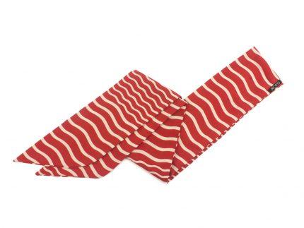 Çizgili Kırmızı Fular Saç Bandı