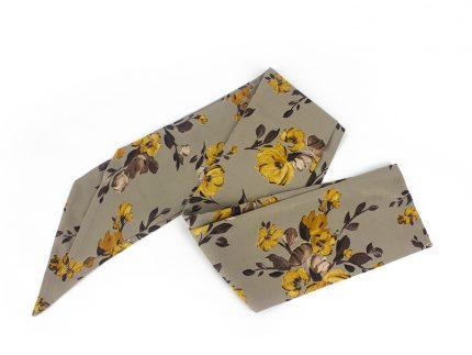 Sarı Çiçek Desenli Fular - Saç Bandı