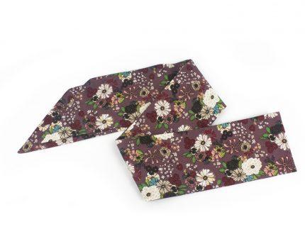 Çiçek Desenli Gül Kurusu Fular - Saç Bandı