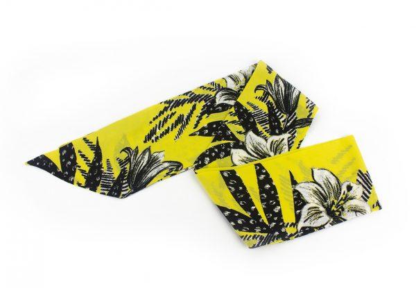 Sarı Çiçekli Fular - Sarı Saç Bandı