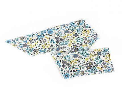 Açık Mavi Çiçekli Fular - Saç Bandı