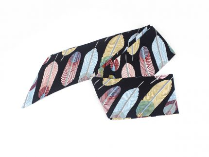 Yaprak Desenli Renkli Fular - Saç Bandı - Bandana