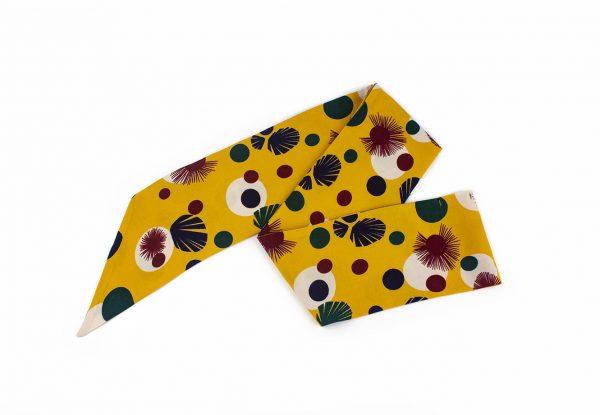 Sarı Desenli Renkli Fular - Saç Bandı - Bandana