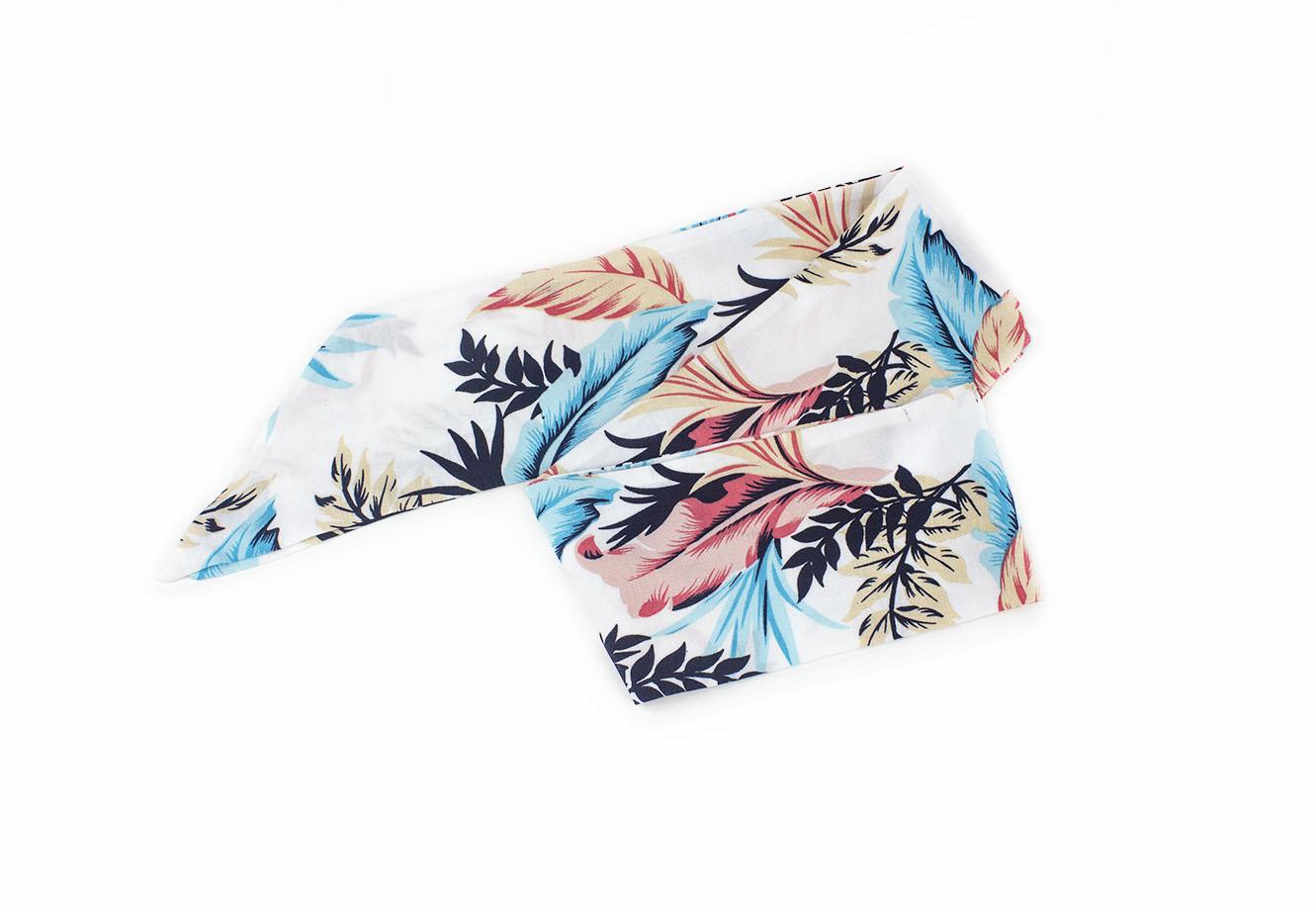 Çiçekli Beyaz Fular - Saç Bandı - Bandana